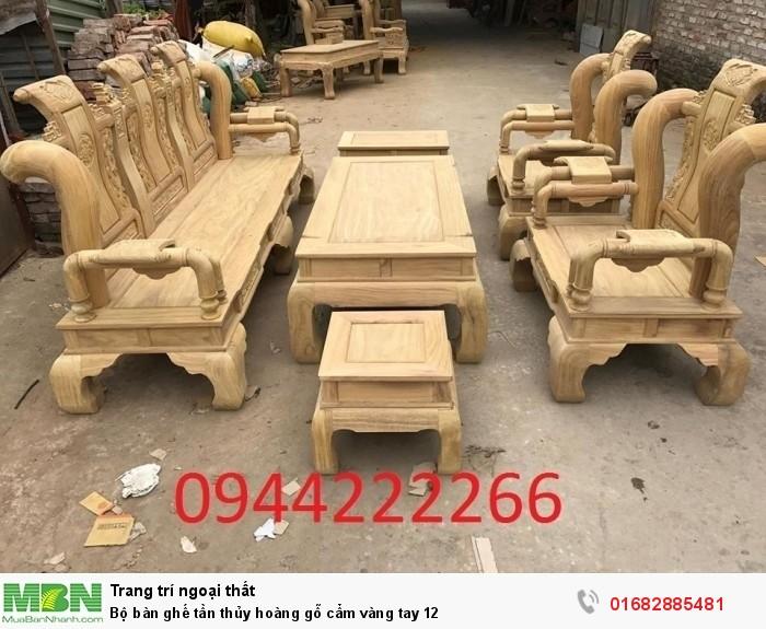 Bộ bàn ghế tần thủy hoàng gỗ cẩm vàng tay 120
