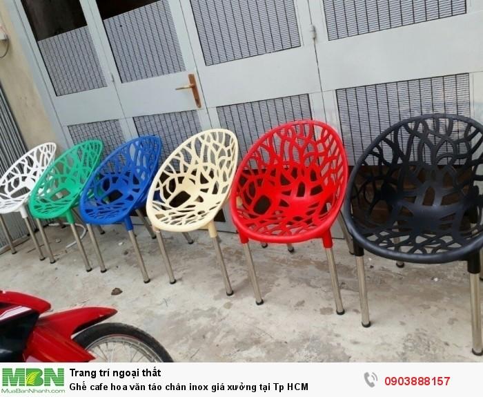 Ghế cafe  hoa văn táo chân inox giá xưởng  tại Tp HCM
