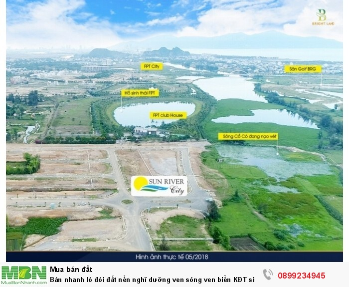 Bán nhanh lô đôi đất nền nghĩ dưỡng ven sông ven biển KĐT sinh thái Sun River City
