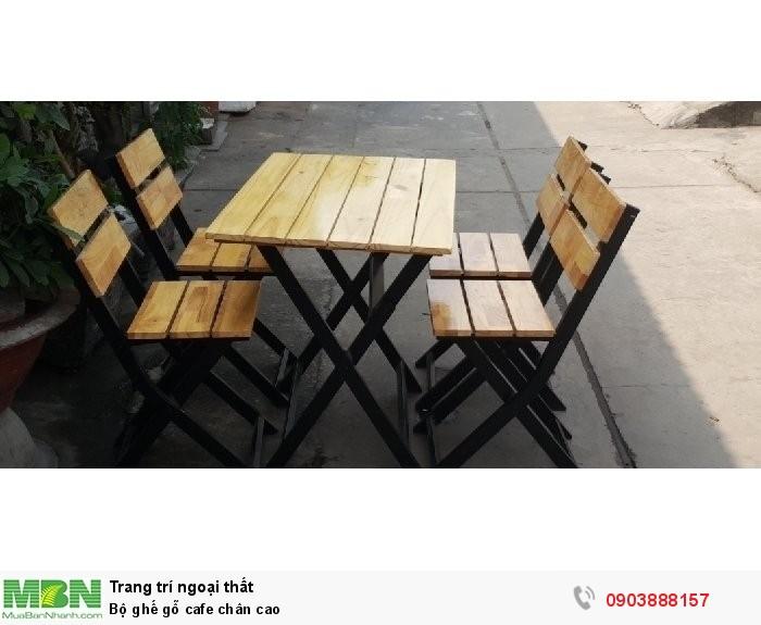 Bộ ghế gỗ cafe chân cao