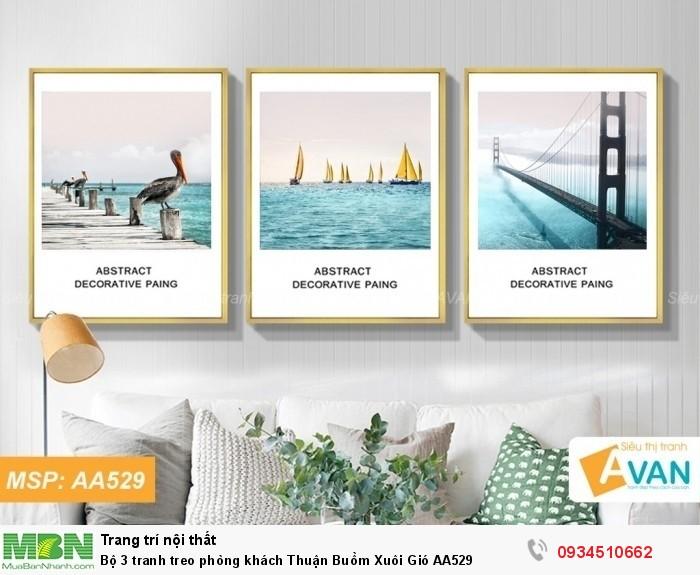 Bộ 3 tranh treo phòng khách Thuận Buồm Xuôi Gió AA5290