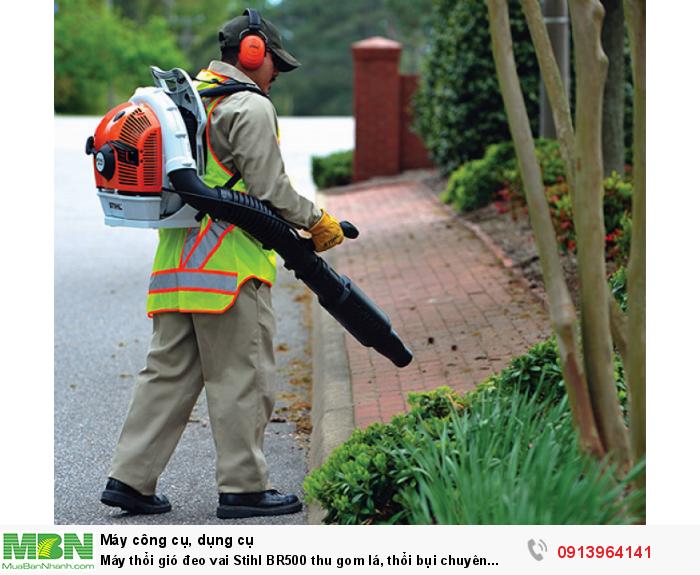 Máy thổi gió đeo vai Stihl BR500 thu gom lá, thổi bụi chuyên nghiệp cho công viên, công trình xây dựng