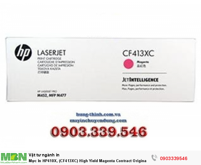 HP 410X, (CF413XC), High Yield Magenta Contract Original LaserJet Toner Cartridge0