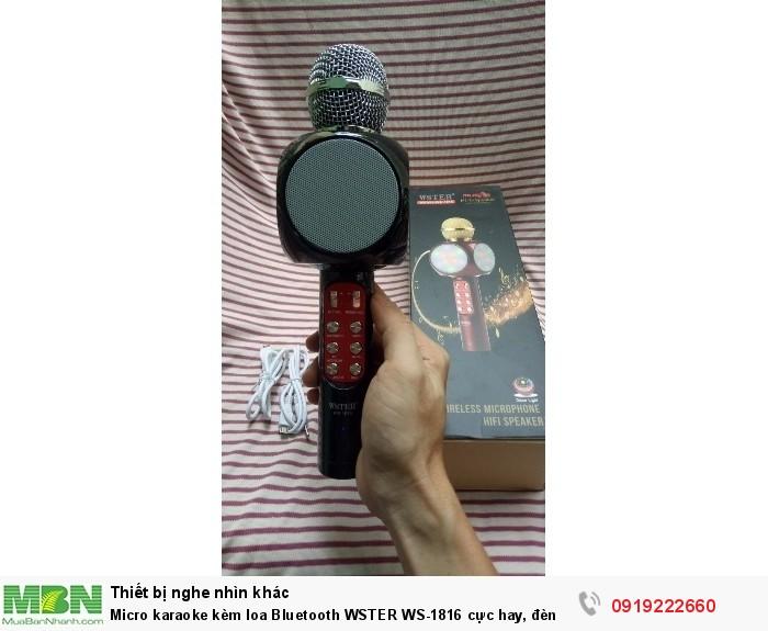 Micro karaoke kèm loa Bluetooth WSTER WS-1816 cực hay, đèn led 7 màu (Đen)1