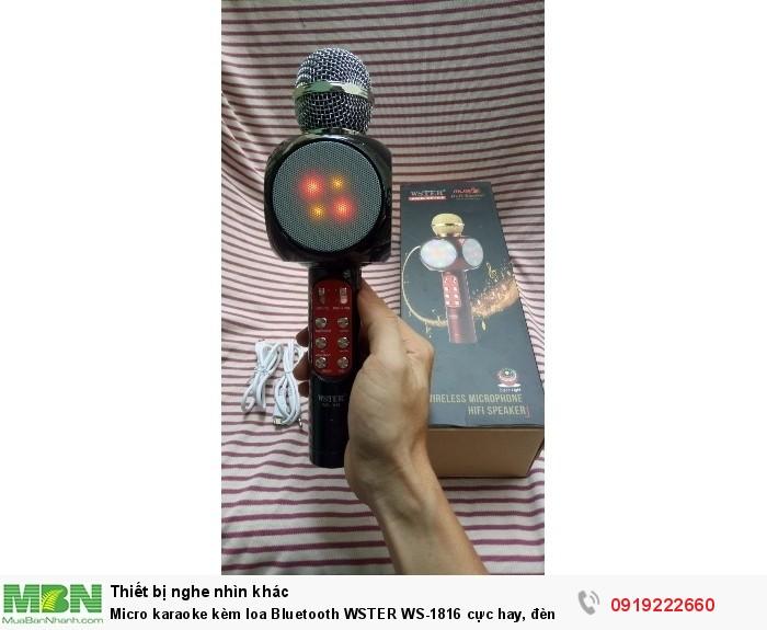 Micro karaoke kèm loa Bluetooth WSTER WS-1816 cực hay, đèn led 7 màu (Đen)2