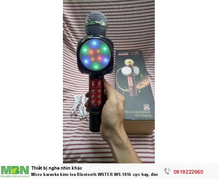Micro karaoke kèm loa Bluetooth WSTER WS-1816 cực hay, đèn led 7 màu (Đen)3