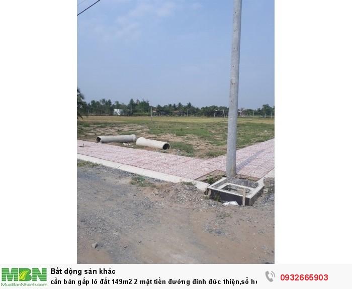 Cần bán gấp lô đất 149m2 2 mặt tiền đường đinh đức thiện,sổ hồng riêng