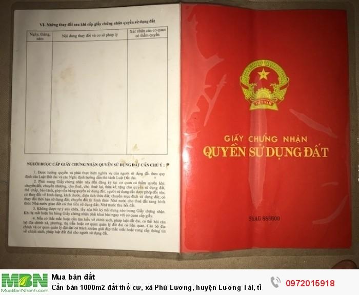 Cần bán 1000m2 đất thổ cư, xã Phú Lương, huyện Lương Tài, tỉnh Bắc Ninh đất đã san nền và xây tường