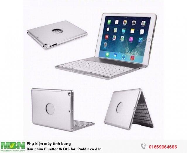 Bàn phím Bluettooth F8S for iPadAir có đèn0