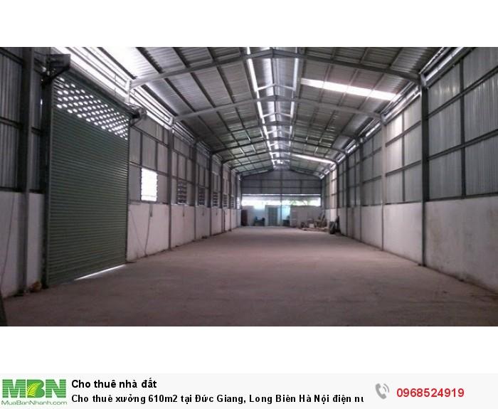 Cho thuê xưởng 610m2 tại Đức Giang, Long Biên Hà Nội điện nước tốt