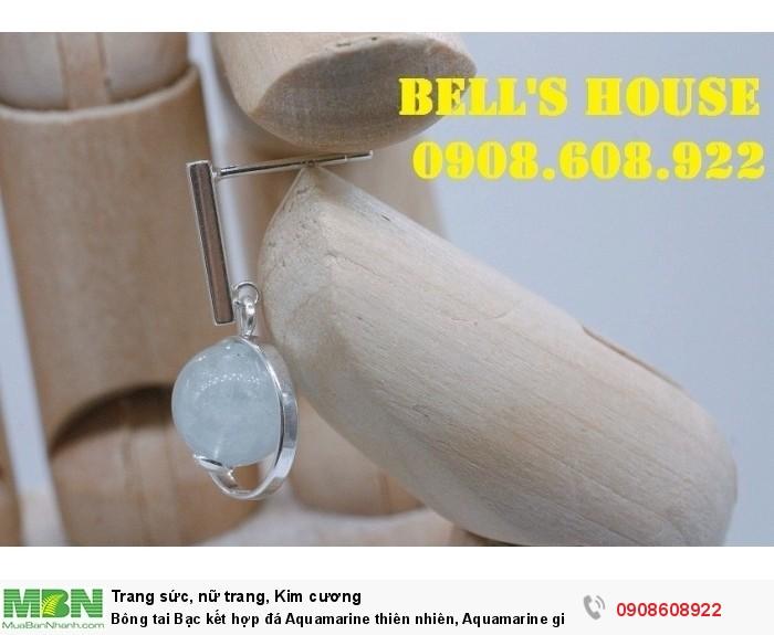 Bông tai Bạc kết hợp đá Aquamarine thiên nhiên, Aquamarine giọt nước từ đại dương, sản phẩm mới,1