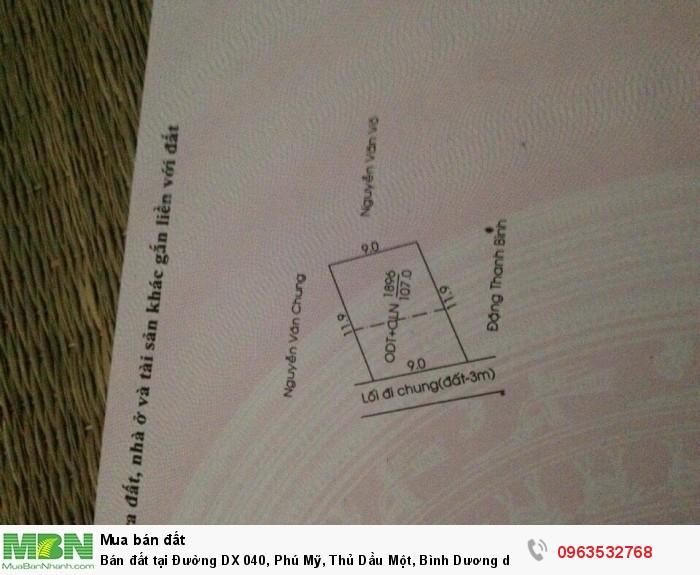 Bán đất tại Đường DX 040, Phú Mỹ, Thủ Dầu Một, Bình Dương diện tích 107m2 giá 11 Triệu/m²