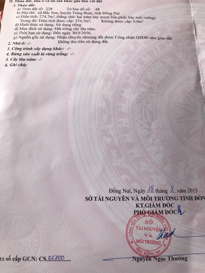 Bán Đất Bắc Sơn Trảng Bom 275m2