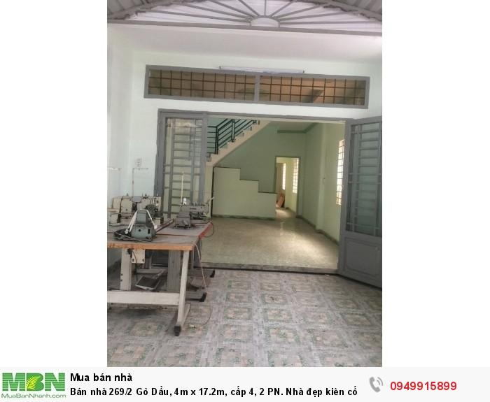 Bán nhà 269/2 Gò Dầu, 4m x 17.2m, cấp 4, 2 PN. Nhà đẹp kiên cố ở liền.