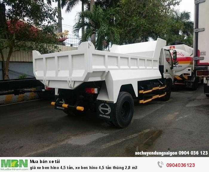 Giá xe Ben Hino 4,5 tấn, xe ben Hino 4,5 tấn thùng 2,8 m3 0