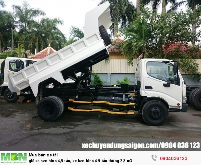 Giá xe Ben Hino 4,5 tấn, xe ben Hino 4,5 tấn thùng 2,8 m3 4