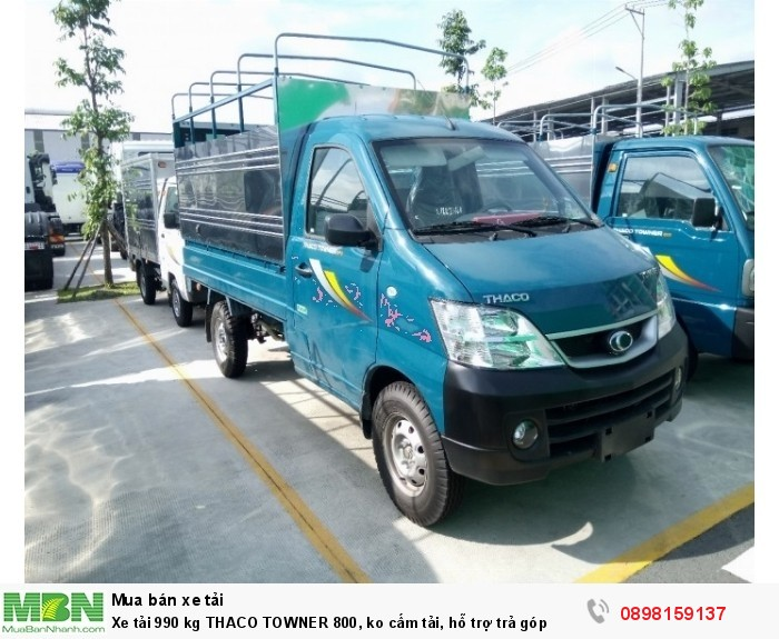 Xe tải 990 kg THACO TOWNER 800, mui bạt, màu xanh ko cấm tải, hỗ trợ trả góp