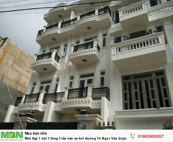 Nhà đẹp 1 trệt 1 lửng 3 lầu sân xe hơi đường Tô Ngọc Vân Quận 12 cách Gò Vấp 3km