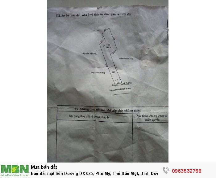Bán đất mặt tiền Đường DX 025, Phú Mỹ, Thủ Dầu Một, Bình Dương diện tích 244.3m2 giá 8.5 Triệu/m²