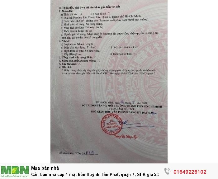 Cần bán nhà cấp 4 mặt tiền Huỳnh Tấn Phát, quận 7, SHR giá 5,5 tỷ