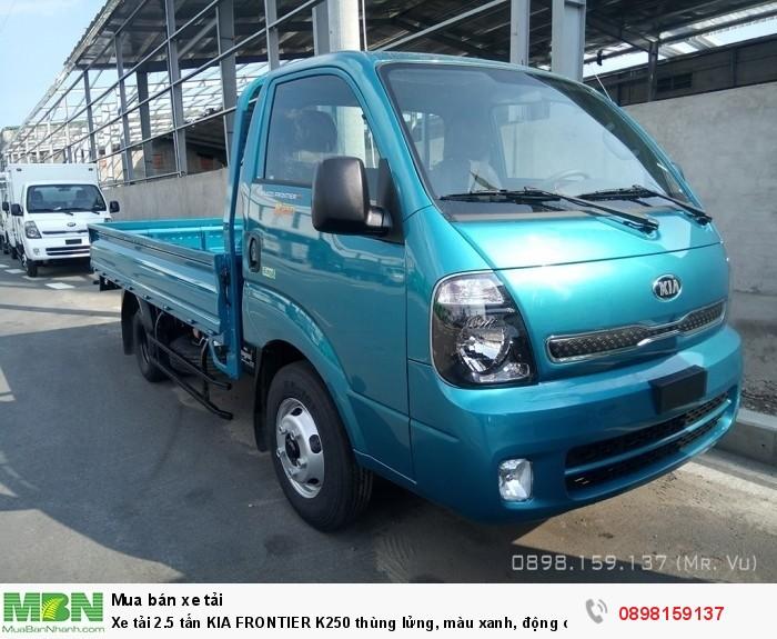 Xe tải 2.5 tấn KIA FRONTIER K250 thùng lửng, màu xanh, động cơ HYUNDAI EURO 4, hỗ trợ trả góp