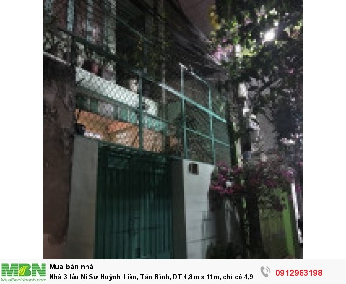 Nhà 3 lầu Ni Sư Huỳnh Liên, Tân Bình, DT 4,8m x 11m, hẻm ô tô