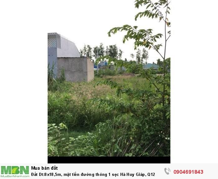 Đất Dt:8x18,5m, mặt tiền đường thông 1 sẹc Hà Huy Giáp, Q12