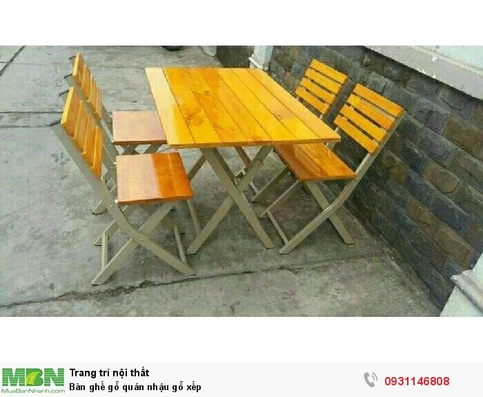 Bàn ghế gỗ quán nhậu gỗ xếp