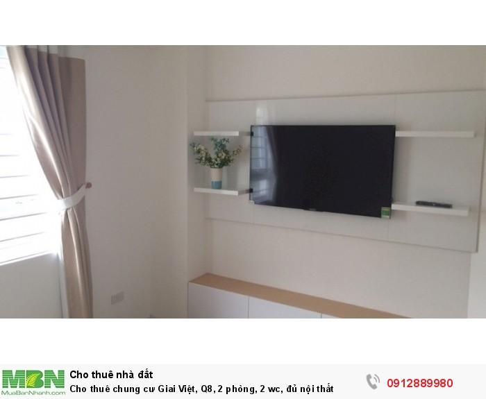 Cho thuê chung cư Giai Việt, Q8, 2 phòng, 2 wc, đủ nội thất