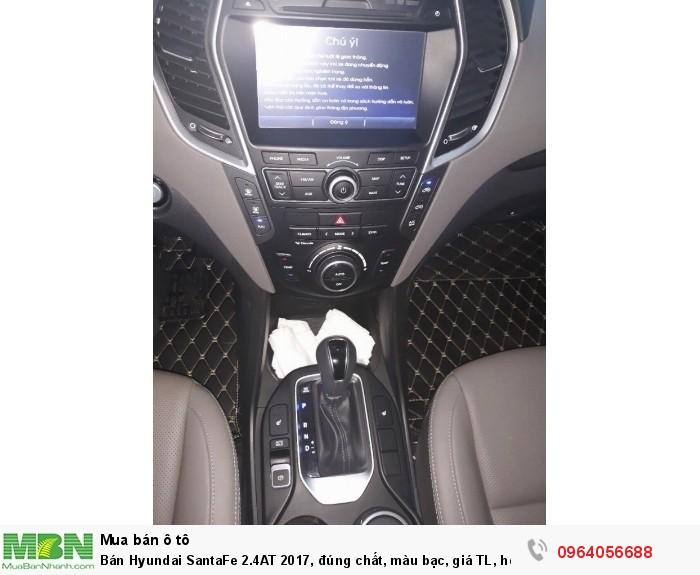 Bán Hyundai SantaFe 2.4AT 2017, đúng chất, màu bạc, giá TL, hổ trợ góp