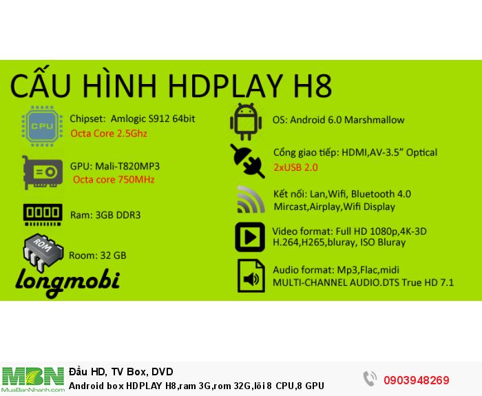 Android box HDPLAY H8,ram 3G,rom 32G,lõi 8 CPU,8 GPU, ram 3G,  Rom 32G, CPU x 8,  GPU x 8 chuyên trị các loại Game nặng nhất
