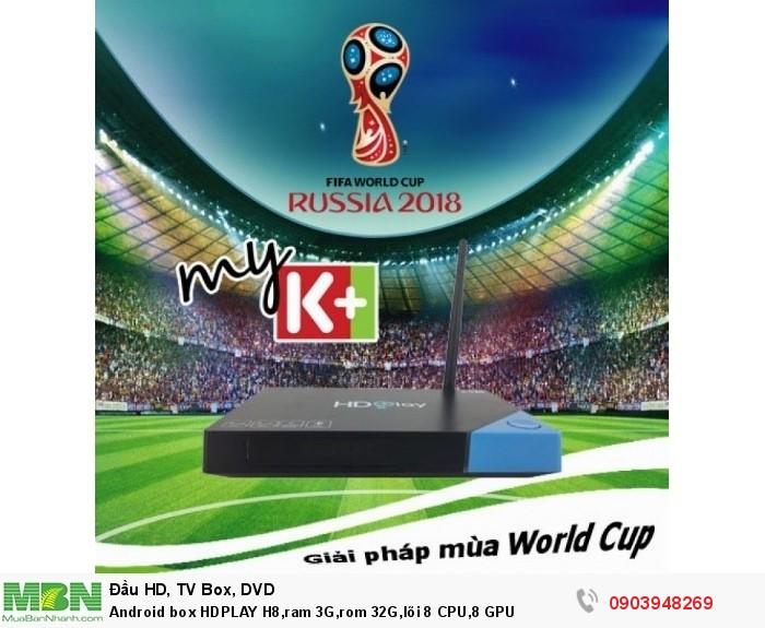Android box HDPLAY H8,ram 3G,rom 32G,lõi 8 CPU,8 GPU, xem bóng đá mùa World cup 2018