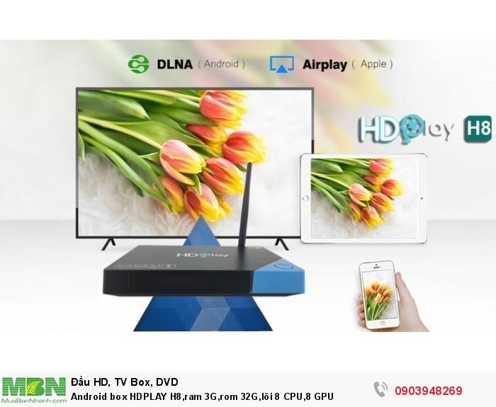 Android box HDPLAY H8,ram 3G,rom 32G,lõi 8 CPU,8 GPU Hỗ trợ các dòng TV cả những TV LCD và CRT đời cũ với cổng ra AV