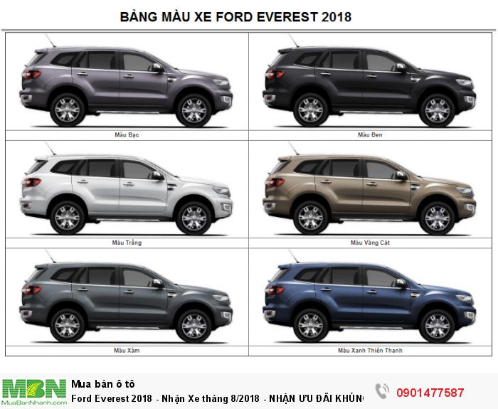 Ford Everest 2018 , 2.0L Turbo, Hộp số 10 cấp - Nhận Xe tháng 9,10/2018 - NHẬN ƯU ĐÃI KHỦNG
