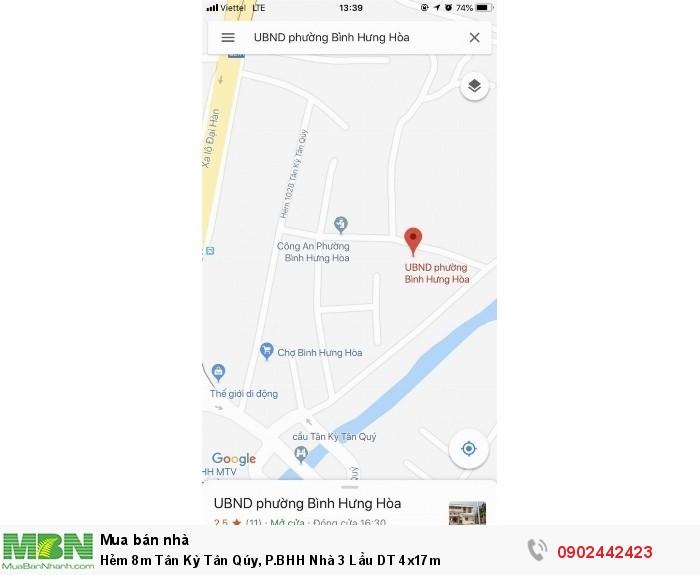 Hẻm 8m Tân Kỳ Tân Qúy, P.BHH Nhà 3 Lầu DT 4x17m