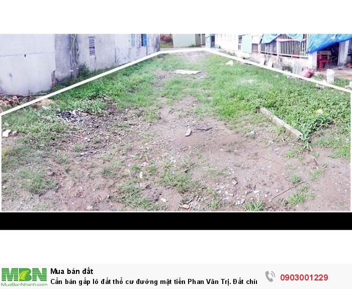 Cần bán gấp lô đất thổ cư đường mặt tiền Phan Văn Trị. Đất chính chủ, SHR