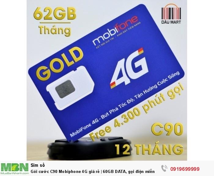 Gói cước C90 Mobiphone 4G giá rẻ | 60GB DATA, gọi điện miễn phí trong 2 tháng đầu1