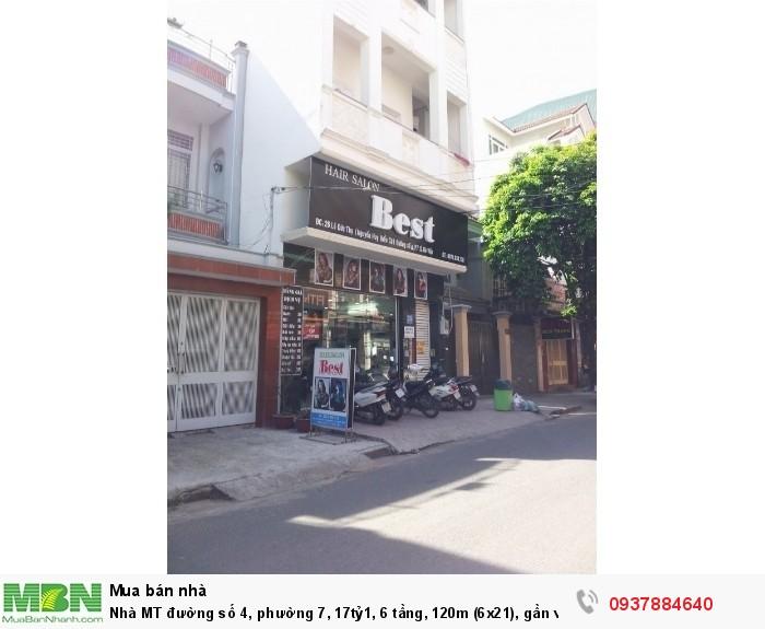 Nhà MT đường số 4, phường 7, 6 tầng, 120m (6x18.5), gần vòng xoay Nguyễn Huy Điển
