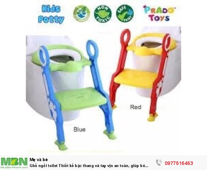 Ghế ngồi toilet Thiết kế bậc thang và tay vịn an toàn, giúp bé ngồi dễ dàng.0