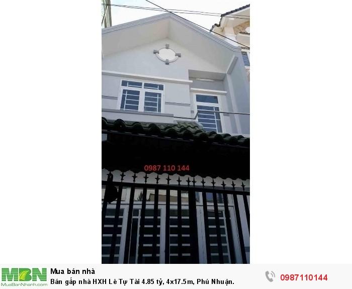 Bán gấp nhà HXH Lê Tự Tài 4.85 tỷ, 4x17.5m, Phú Nhuận.