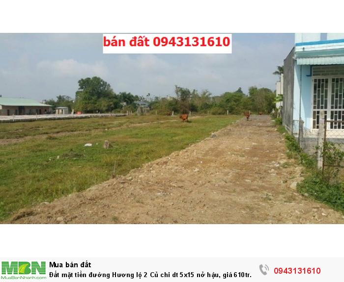 Đất mặt tiền đường Hương lộ 2 Củ chi dt 5x15 nở hậu, giá 610tr đất chính chủ đã lên thổ có sổ riêng