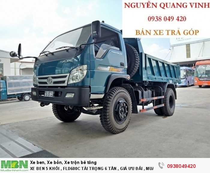 Xe Ben 5 Khối - Thaco Forland FLD600C Tải Trọng 6 Tấn - Giá Ưu Đãi - Bán Xe Trả Góp