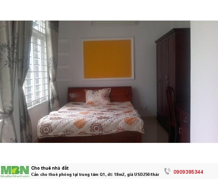 Cần cho thuê phòng tại trung tâm Q1, dt: 18m2,
