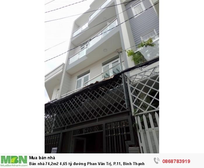 Bán nhà 74,2m2 đường Phan Văn Trị, P.11, Bình Thạnh