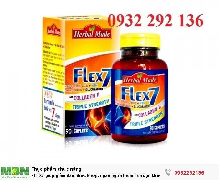FLEX7  có tác dụng giúp giảm đau nhức khớp, ngăn ngừa và hỗ trợ điều trị thoái hóa sụn khớp, giúp tăng tiết dịch nhầy tại ổ khớp. Liên hệ 0932 292 136 để được tư vấn và giao hàng0