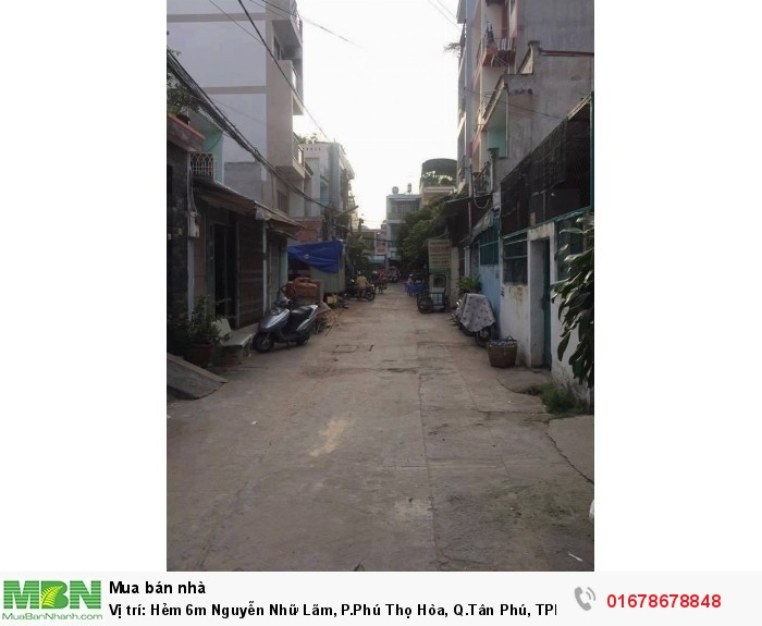 Vị trí: Hẻm 6m Nguyễn Nhữ Lãm, P.Phú Thọ Hòa, Q.Tân Phú, TPHCM