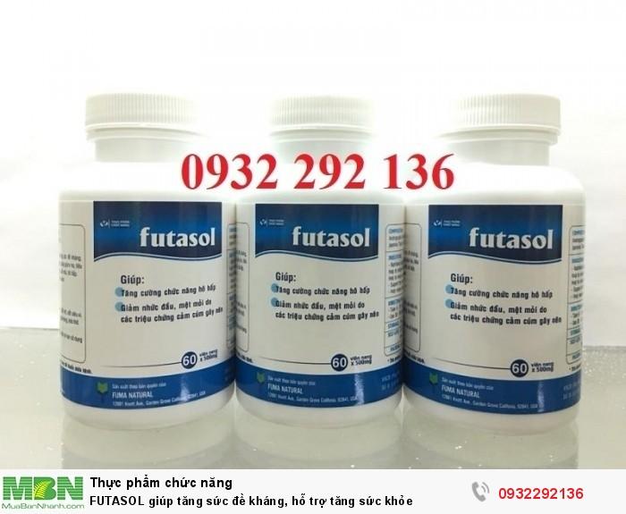 FUTASOL  có thành phần gồm 4 loại thảo dược giàu kháng sinh thực vật và tảo xoắn Spirulina có tác dụng giúp bổ sung dinh dưỡng và tăng cường sức đề kháng, hệ miễn dịch cho người sử dụng. Liên hệ 0932 292 136 để được tư vấn và giao hàng