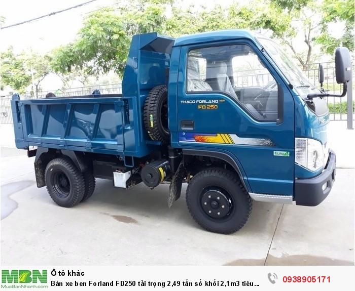 Bán xe ben Forland FD250 tải trọng 2,49 tấn số khối 2,1m3 tiêu chuẩn khí thải EURO4 2
