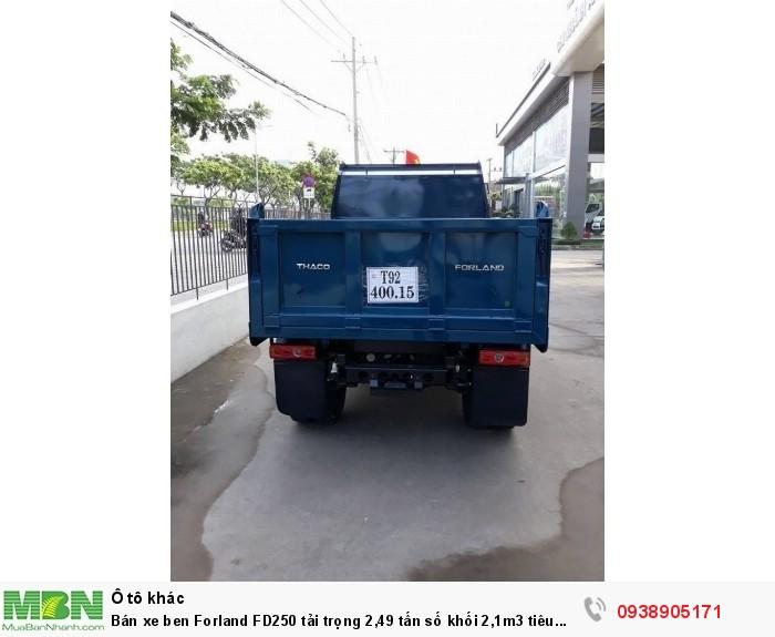 Bán xe ben Forland FD250 tải trọng 2,49 tấn số khối 2,1m3 tiêu chuẩn khí thải EURO4 4