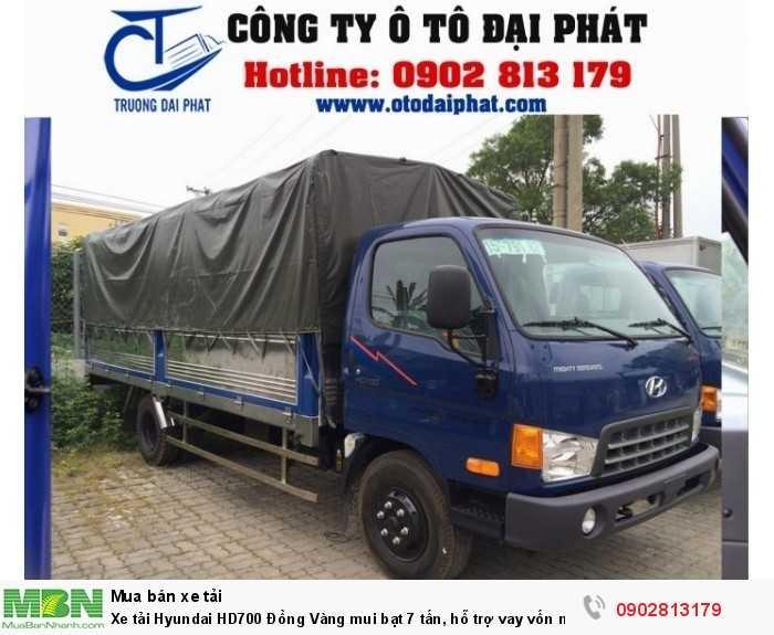Xe tải Hyundai HD700 Đồng Vàng mui bạt 7 tấn, hỗ trợ vay vốn mua xe trả góp 80% 0